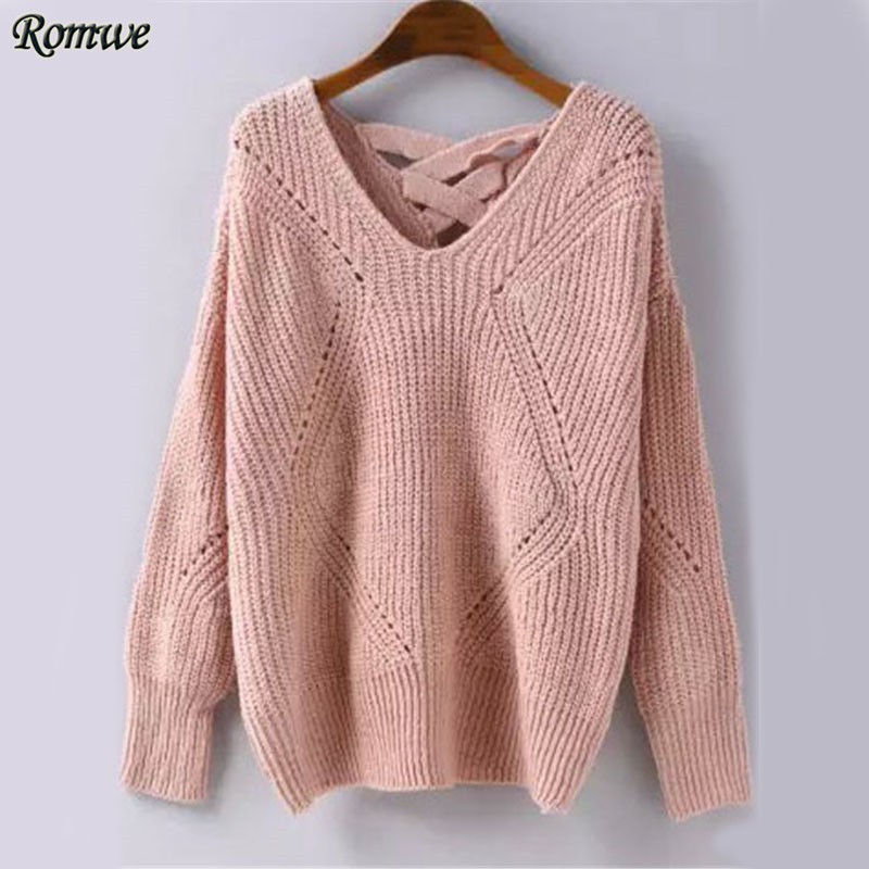 ROMWE Geometric Pattern Knitted Sweater Pink Pullovers Women ...