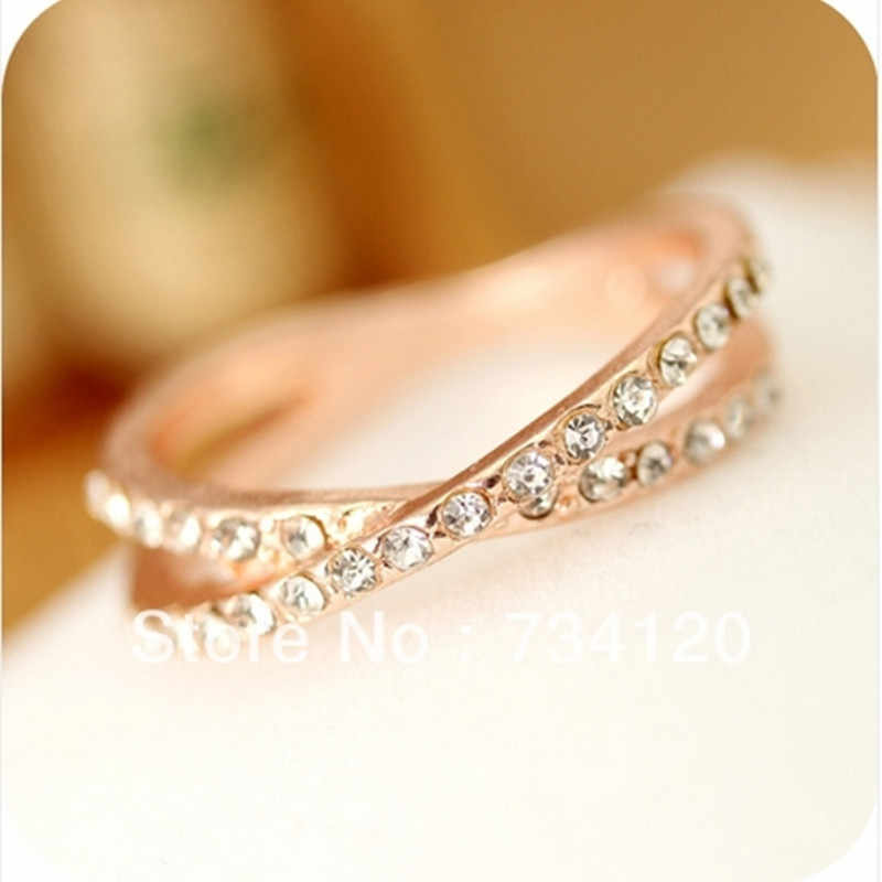 2018 New style free shipping 17MM Jewelry Retro Fashion Plated Rhinestone Ring Wedding Ring Set Wholesale