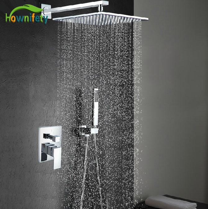 Chrome Polished Shower Set Faucet 16Square Brass waterfall Shower Head with Hand Shower