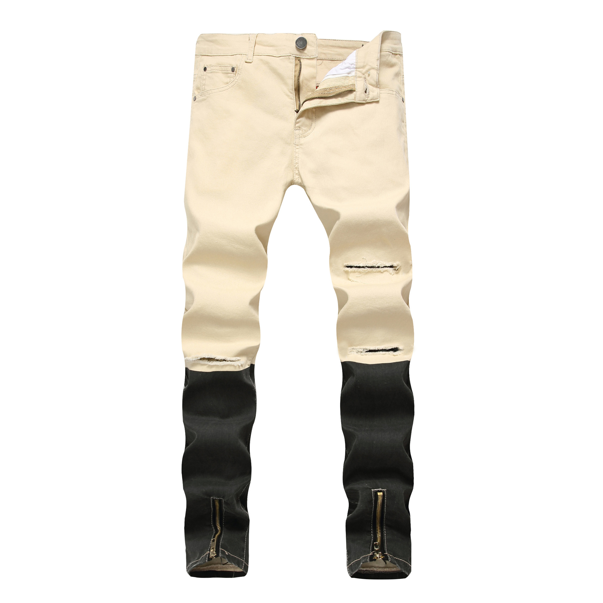 High Street Distressed Hole Colorblock Jeans Mens Front Ankle Zipper Slim Fit Ripped Denim Pants Europe Youth Fashion Trousers