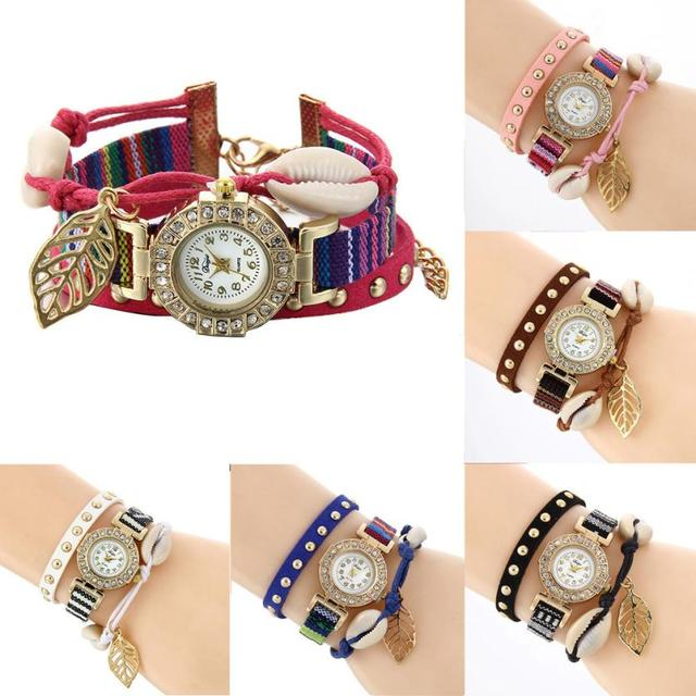 2017 New Rhinestone Handmade Braided Multicolored Bracelet Watch Rope Ladies Qua
