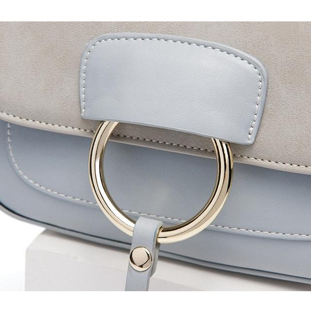 Fashion Women Handbag Girls Flap Bag Small Crossbody Bags Female Vintage Satchel Shoulder Bag Nubuck Leather Metal Ring Faye Bag
