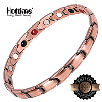 Hottime Copper Magnetic Healthy Men Women Bracelets Red Colour Pure Copper Arthritis Healing Jewelry Brand Bracelets Homme