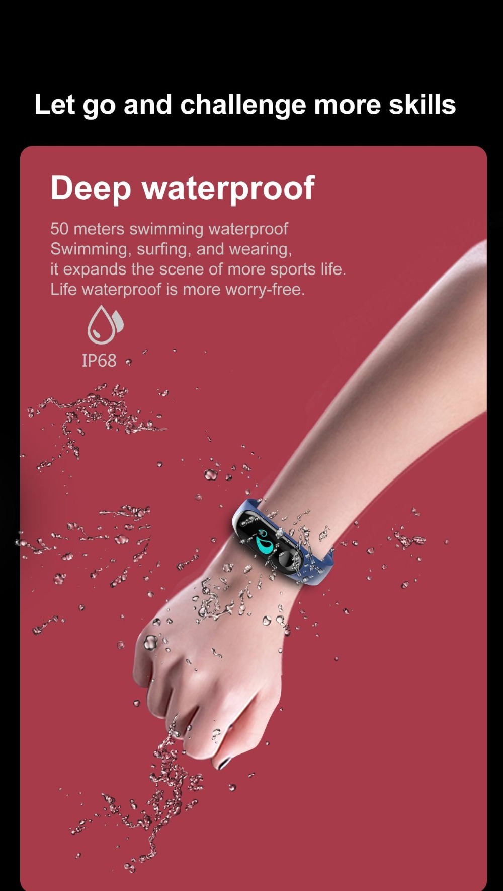 Torntisc W3 Fitness Bracelet Color-screen IP68 Waterproof blood pressure Oxygen Monitor sport Heart Rate Smart band pk mi band 3 (7)