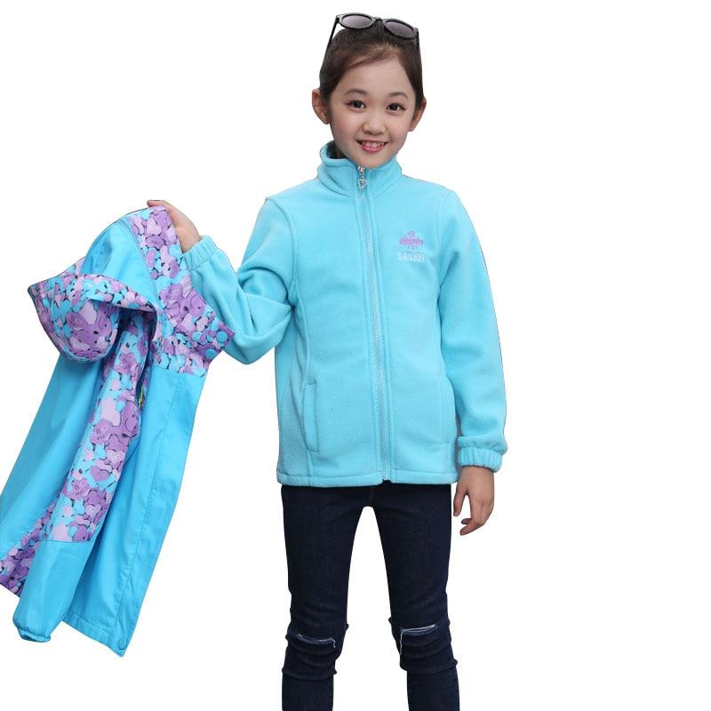 Autumn Winter Children Girl Outerwear Jacket  2 pcs set (Fleece Tops + Windproof Coat) Hooded Coats For Girl Kids Sport ClothesAutumn Winter Children Girl Outerwear Jacket  2 pcs set (Fleece Tops + Windproof Coat) Hooded Coats For Girl Kids Sport Clothes