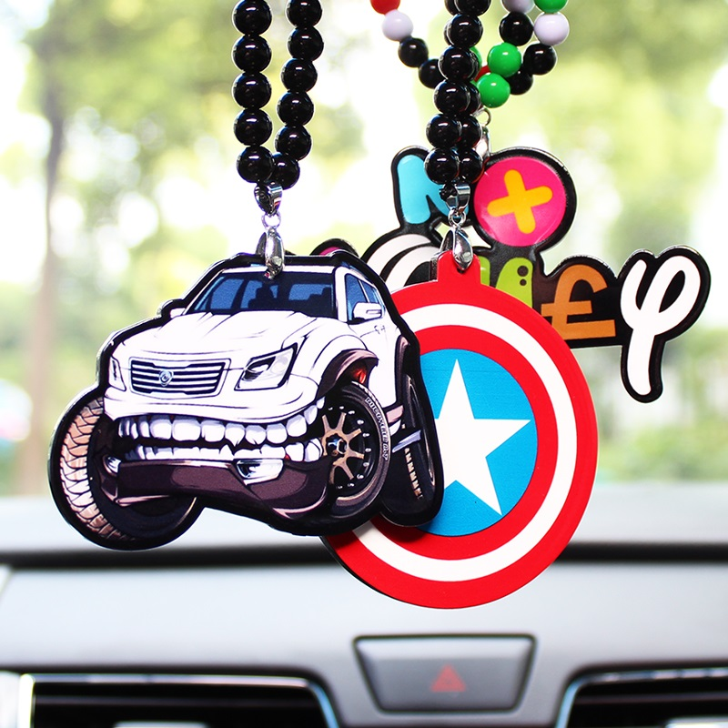 Double Sides Print Racing Sport Car Sexy Girl Badge Pendant Car Styling JDM Rearview Mirror Hip Hop Hellaflush Charm for VW
