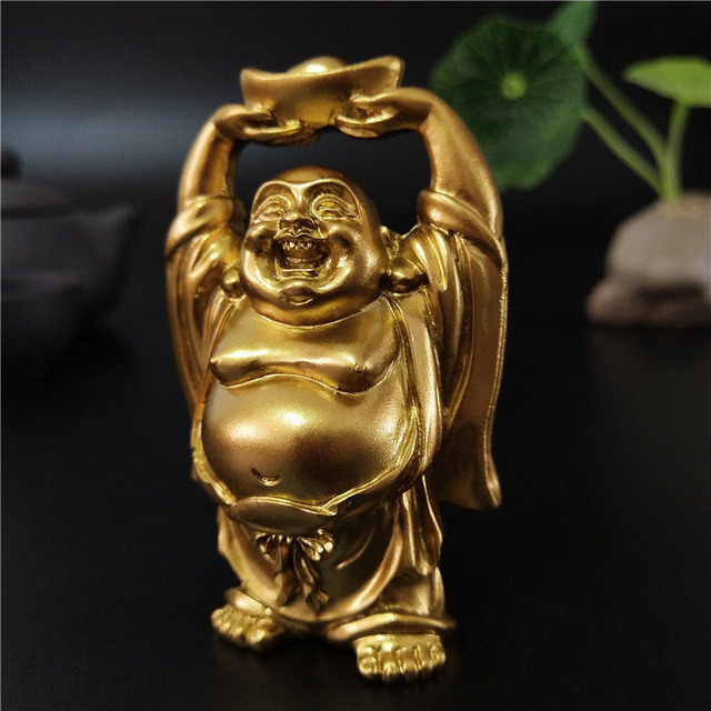 Golden Chinese Feng Shui Laughing Buddha Statue Ornaments Money Maitreya Buddha Sculpture Garden Figurines For Home Decoration 3