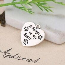 Поступление животных прелести слово всегда в моем сердце любовь собаки лапы принт сердце подвески