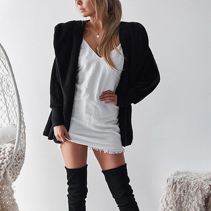 Mullido Chaquetas Con negro Piel 2018 De Mujer Sintética Para Cárdigan Capucha Plata Peluche Invierno Chaqueta Abrigo Sólida caqui rosado vI6wR