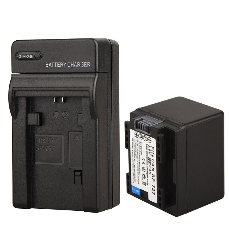 100% Newest 3000mAh BP-727 BP 727 BP727 Battery for Canon VIXIA HF R30 M50 M52 500 M56 M506 R36 R38 R306 R400 R500 R600 R60 R62