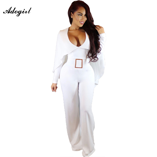 Adogirl Autumn Cape Long Sleeves Wide Leg Jumpsuit White Sexy V Neck One Piece Long Jumpsuits For Women 2016 Combinaison Femme