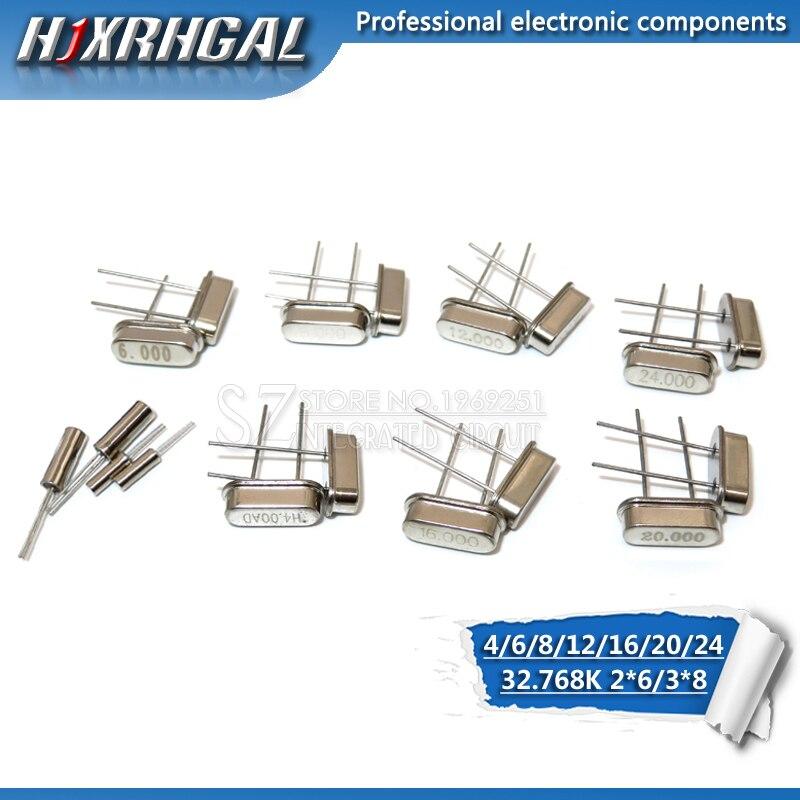 200pcs 4Mhz 6Mhz  8MHz  12MHz  16MHz  20MHz  24MHz  32.768K 2*6  32.768K 3*8 HC49S  Quartz Resonator Crystal Oscillator Hjxrhgal