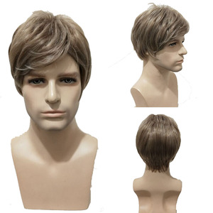 Image 3 - WoodFestival 男性耐熱合成かつらブラウンストレートメンズ男ウィッグコスプレショートヘア