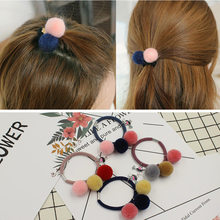 Korean Hot Sale 2017 New Fashion 3 Balls Elastics Hair Holders Bands Gum Rubber Bands Headwear Women Girls Hair Accessories