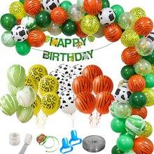 75 sztuk dżungli balony na imprezę zestaw dekoracyjny impreza w stylu safari Baby Shower balony ze zwierzętami łuk dzieci balonik urodzinowy Zoo impreza tematyczna