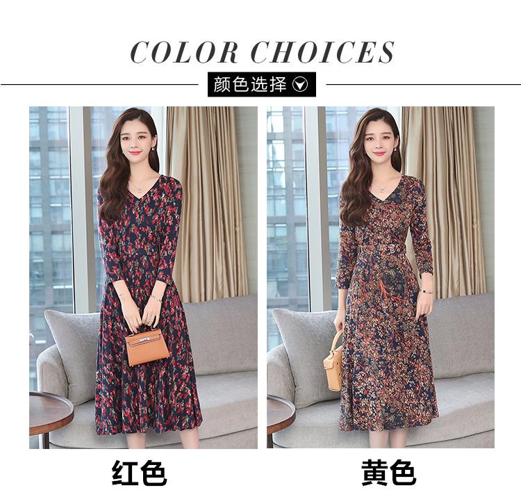 Autumn Winter New 3XL Plus Size Vintage Midi Dresses 2018 Women Elegant Bodycon Floral Dress Party Long Sleeve Runway Vestidos 22