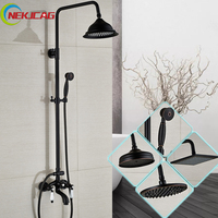 Newly Dual Handle 8 Rainfall Bath Mixer Shower Faucet Swive Tub Filler Black Wall Mounted Shower Faucet Kit +Handshower