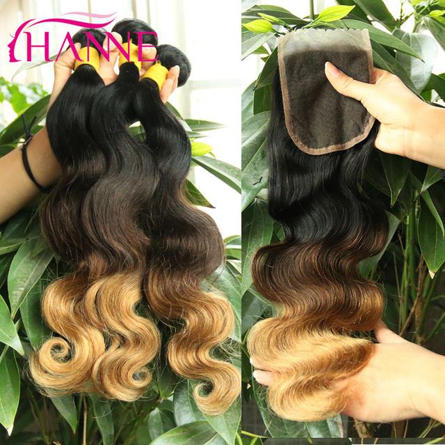 Ombre Brazilian Hair With Closure 3 Bundles With Closure Body Wave T1B/4/27 Ombre Human Hair With Closure 3 Tones Ombre Closure
