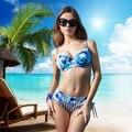 New year Gift 2016 Summer Women bikini 84%nylon 16% elastan Full Cup Bralette and Sexy Green Print Ladies Plus Size biquinis
