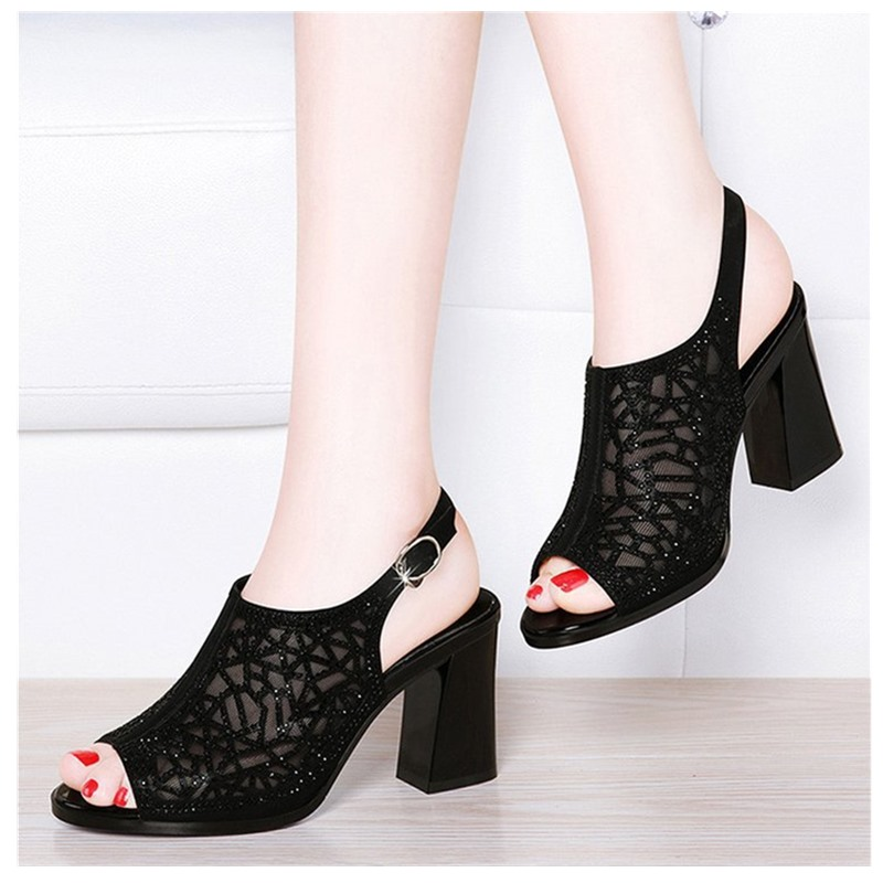 Women Shoes Summer Comforty Platform Sandals Sexy Mesh Ventilation Piscine Mouth Shoes Elegant Pure Color Hight