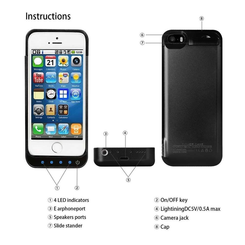 Black Color Battery <font><b>Charger</b></font> <font><b>Case</b></font> 4200mah Rechargeable Power <font><b>Cases</b></font> with Pop-out Viewing Stand <font><b>for</b></font> <font><b>iPhone</b></font> 5/5C/5S/SE Plus free