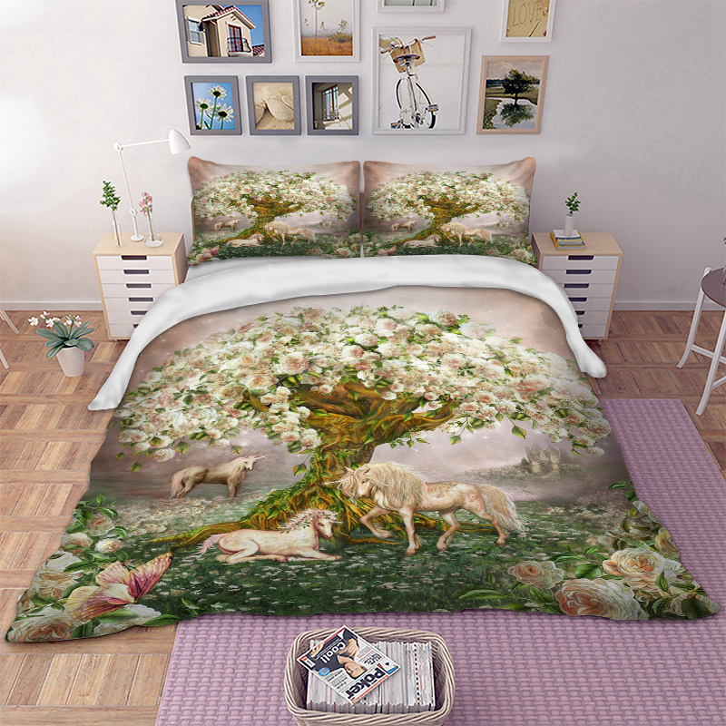 Nature Tree Horse Bedding Set Unicorn Duvet Cover Quilt Cover Bed Cover Bedclothes Pillow Cases Animal 3pcsNature Tree Horse Bedding Set Unicorn Duvet Cover Quilt Cover Bed Cover Bedclothes Pillow Cases Animal 3pcs