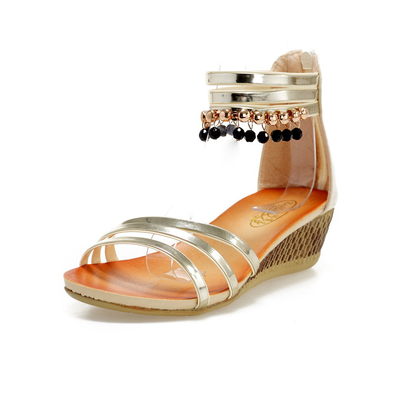2014 Summer New Bohemia Beaded Zipper Wedge Sandals Ankle Wrap Ethnic Rome  Shoes Flat Heel Sandles Black Gold Blue SSA41003-in Women s Sandals from  Shoes on ... 1ce9acaa042c