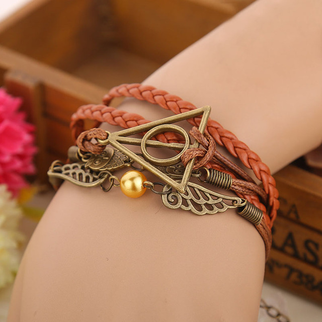 European and American movies around hand-woven Harri Potter death sacred golden thief wings leather rope multi-layer bracelet
