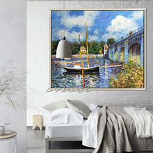 Claude Monet oil painting on canvas Landscape painting boat lake painting Wall Pictures for Living room home decor Hand painted claude monet oil painting print on canvas a man was painting on a boat wall art for office living room decoration artwork gift