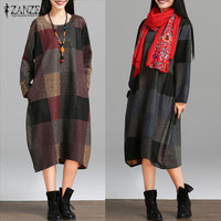 2017 Autumn New ZANZEA Women Plaid Printed Dresses Ladies Long Dress Vintage Long Sleeve O Neck