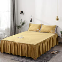 New 3pc Bed Set Sheet Set Bedspread Wedding Fitted Sheet Cover Soft Non Slip King Queen Bed Sheet Bed Skirt+2 Pillowcase