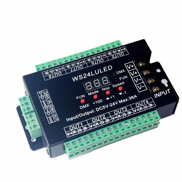 DC5V-24V Digital Display 24CH Easy Dmx512 DMX Decoder,LED Dimmer Each Channel Max 3A 24CH*1.5A,24LU Led 8 Groups RGB Controller