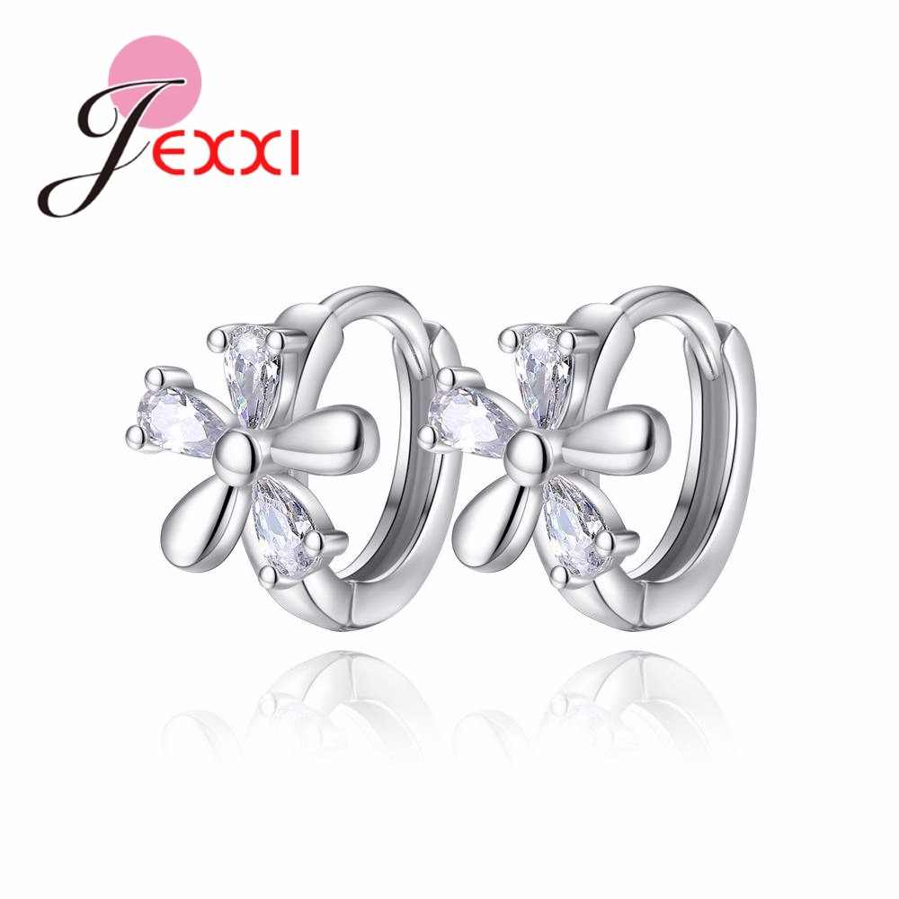 New Arrival Beautiful Flower Cheap Elegant Pure 925 Sterling Silver Best Hoop Earrings Great Birthday Present For Girls