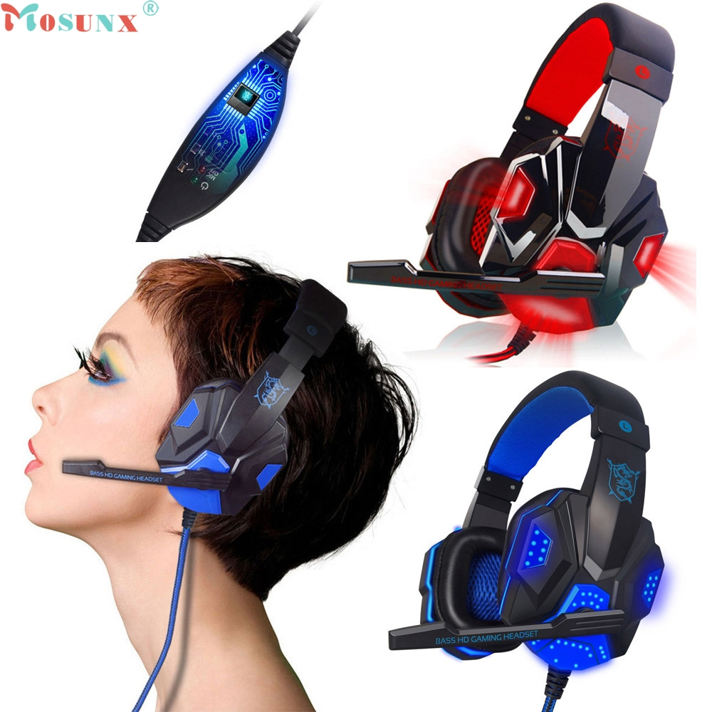 Mosunx Surround Stereo Gaming Headset Headband Headphone USB 3.5mm LED with Mic for PC 0111 Drop Shipping xiberia k9 usb surround stereo gaming headphone with microphone mic pc gamer led breath light headband game headset for lol cf