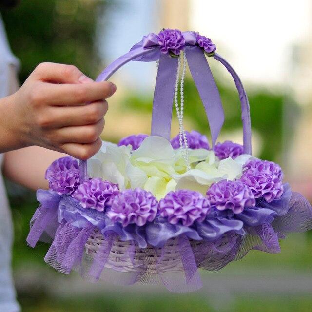 2 Pcs Wedding Baskets Flower Girl Bridesmaid Hand Basket Decoration