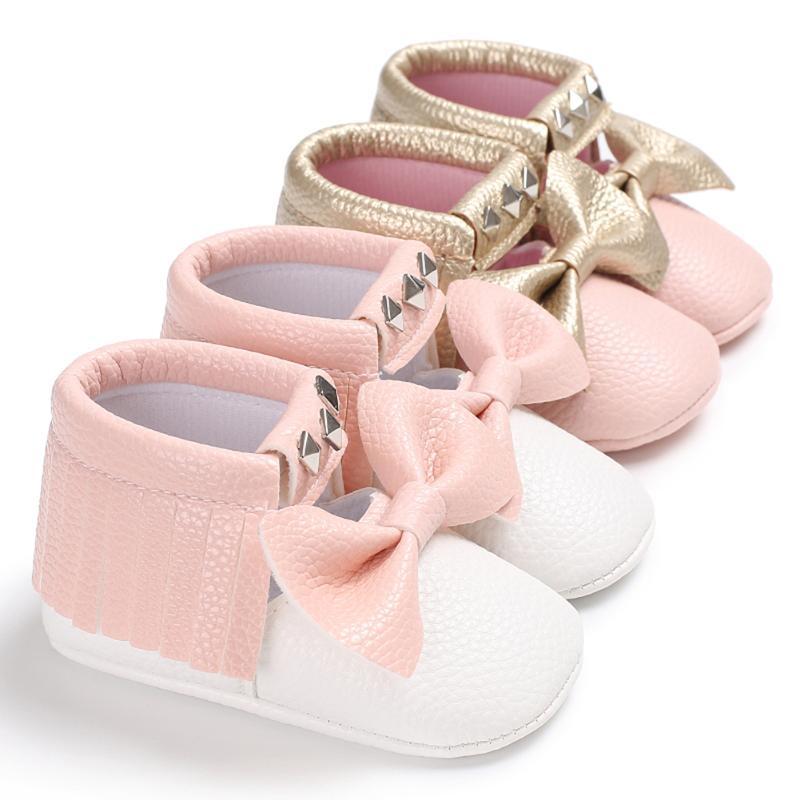 בייבי נעליים ילוד ילדה ורוד קשת ראשון - נעלי תינוקות