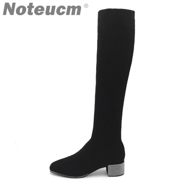 Fashion Female Luxury Sexy Elastic Thigh Sock Low Heel High over the Knee Long Stocking Boot with Rhinestone Lady Shoe for Women цена 2017