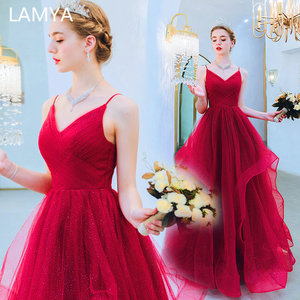 LAMYA Simple Spaghetti Strap Evening Party Dresses Pleat V Neck Formal Dress A Line Prom Gown Robe De Soiree