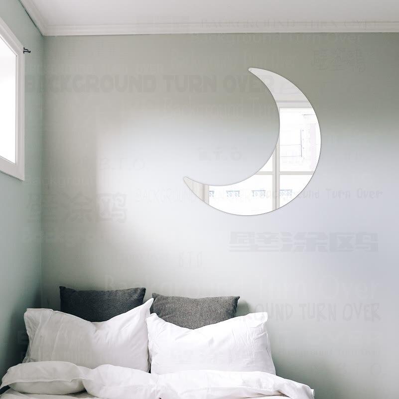 Carino Riflettente Luna Specchio Decorativo Wall Stickers Per ...