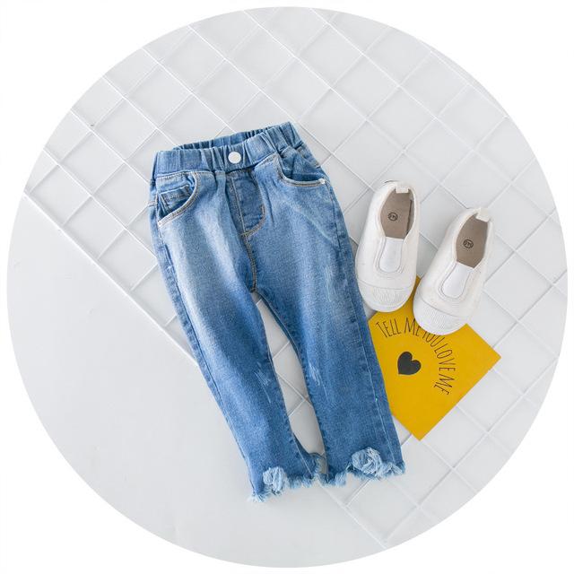 2016 Primavera e No Outono parágrafo meninos calças jeans crianças cartas selvagens calças de brim do furo soltas criança para 2-7 T