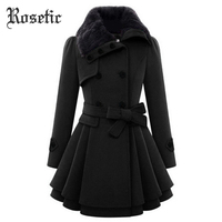 Rosetic Winter Coat Women Warm Thick Abrigos Mujer Invierno 2018 Double Breasted Mid Length Vintage Overcoat Wool Lapel Coats