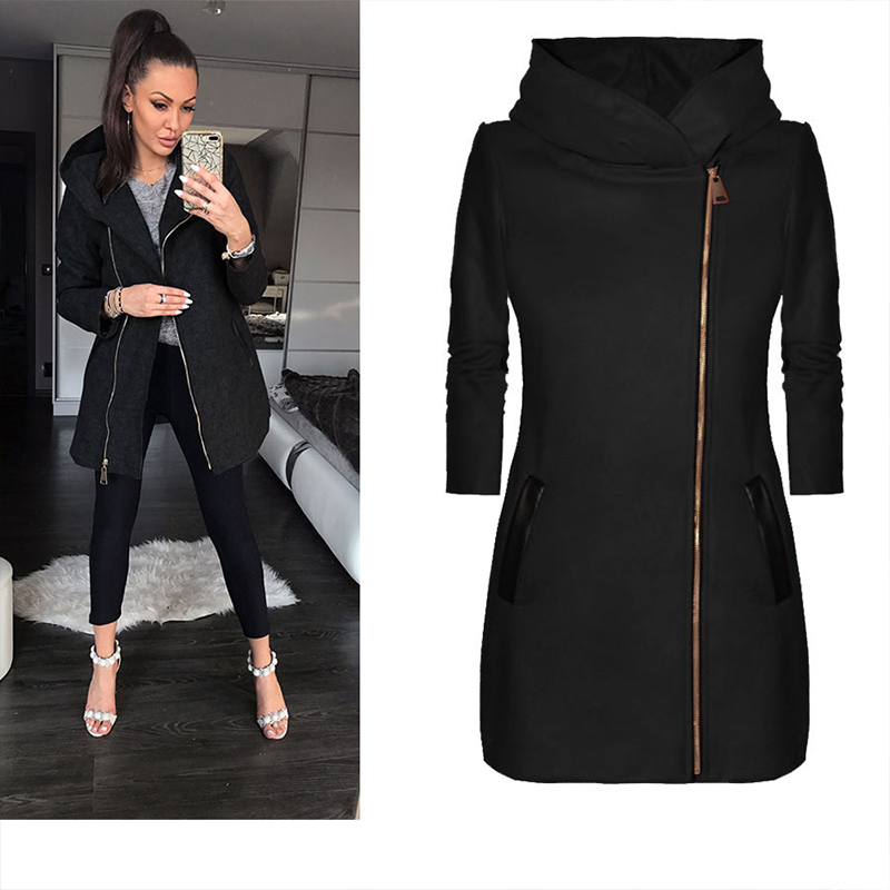 Autumn Fashion Women Hooded Long Sleeve Warm   Jacket   Outwear Pocket Classic Zipper   Basic     Jacket   Sold Winter Fashionable Overcoat