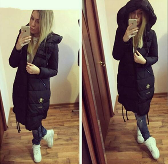 Ukraine Top Fashion Solid Zipper Wide-waisted Thick Full 60% 2016 New Women Winter Coat Casual Long Color Warm Cotton Jacket