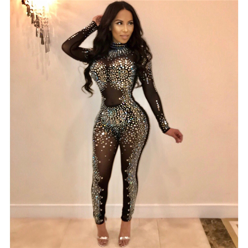 Sparkling Crystal Sheer Mesh Diamonds Elegant Jumpsuit Women Turtleneck Long Sleeve Skinny Bodysuit Night Club Overalls