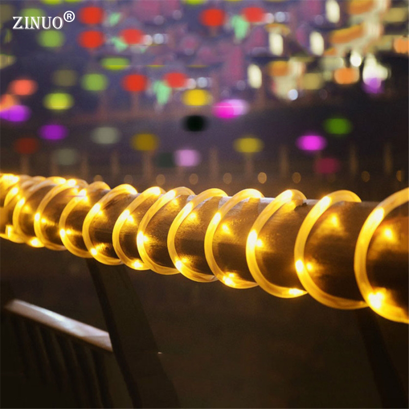 ZINUO Solar 10M 100Leds LED String Fairy Lights <font><b>Outdoor</b></font> Garden Rope Tube Fairy String Lights for Wedding Garden Fence Landscape