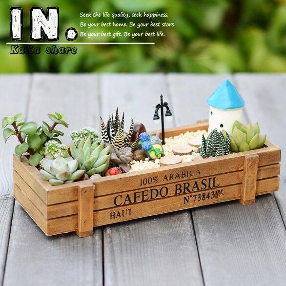 Zakka Vintage Bins Desk Organizer Cabinet Storage Box Holder Wooden Juicy  Plant Container Flowerpot Garden DIY