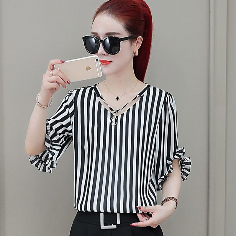 Women Summer Style Chiffon Blouse Fashion Blouses Short Flare Sleeve Shirt Casual Simple Stripe Top Ladies Shirts DF2581