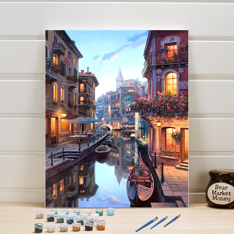 Paint Painting By Numbers Scenery Venice On Canvas Acrylic Coloring Art Pictures For Living Room Wall Adults Drawing One Piece