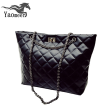 Luxury Handbags Fashion Women Bag Designer Black Soft Pu Leather Quilted Chain Shoulder Bags Famous Brand New Female Lady Totes