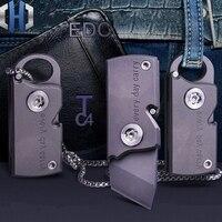 Bolso mini chaveiro faca dobrável express fora da caixa faca de corte edc tc4 titânio ao ar livre pode diy